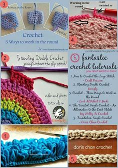 5 Helpful Crochet Tutorials (join in the round, loop stitch, standing dbl crochet, single crochet foundation, twisted edging)