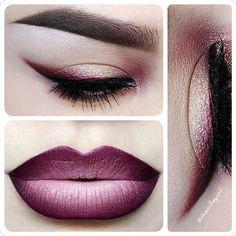 Dark purple makeup look with ombre lips.