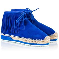 Miista - MAYA Blue suede leather fringed espadrille desert-boots ($180) ❤ liked on Polyvore featuring shoes, boots, blue, summer boots, boho boots, espadrille shoes, blue espadrilles and suede espadrilles