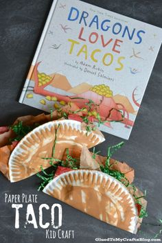 Who doesn't love tacos? This paper plate craft goes with the silly book Dragons Love Tacos and is the perfect hands-on extension from the book. #booksandcrafts #papterplatecraft #craftsforkids