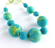 Felted necklace turquoise beaded necklace hand felted  by Dagneart, $35.00