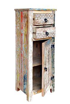 Vintage möbel bunt  Teakholz Kommode ESTER bunt Sideboard Recycling Anrichte massiv ...