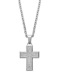 Men's Diamond Necklace, Stainless Steel Diamond Cross Pendant (1/3 ct. t.w.) - Men's Jewelry & Accessories - Jewelry & Watches - Macy's
