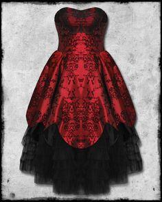 Hell Bunny Majesty Red Black Flocked Satin Goth Steampunk Victorian Prom Dress   eBay