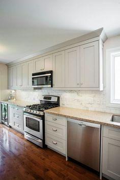 Madison Taylor Design - kitchens - galley kitchen, long kitchen, gray kitchen, gray galley kitchen, ceiling height cabinets, kitchen cabinet...