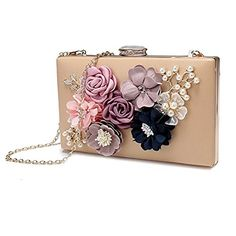 Womens Satin Floral Cream Evening Clutch Bag Purse Pearl Beaded Evening Handbag A *** Details can be found by clicking on the image. Note: It's an affiliate link to Amazon