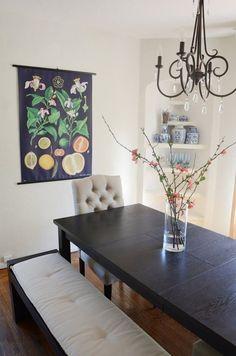 Florals/fruits on black background.