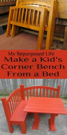 """My Repurposed Life--Make a Kids Corner Bench from a Bed. Could make as outside furniture as well."" Thought about you & Conner's already ""repurposed"" bed lol ; Furniture Projects, Furniture Makeover, Diy Kids Furniture, Playroom Furniture, Furniture Nyc, Furniture Stores, Cheap Furniture, Diy Projects To Try, Home Projects"