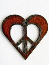 Heart w/Peace Sign - Rustic Iron Pendant (IR146)