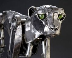 Cheetah steampunk sculpture by Andrew Chase