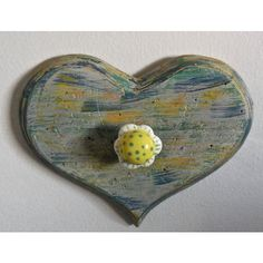 Wall Decor Heart Rack/Rustic Shabby Chic/Ceramic Floral Knob/Valentine... ($20) ❤ liked on Polyvore featuring home, home decor, blue home decor, valentines day home decor, heart home decor, yellow home accessories and yellow home decor