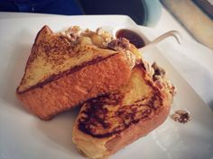 brioche french toast with caramelised banana and walnuts. mmhmmm