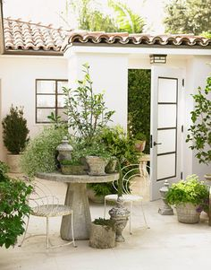 The front door of this oceanfront Los Angeles house opens to a surprising open-air courtyard. Designer Chris Barrett clustered plants in antique pots on a concrete table from Inner Gardens.   - HouseBeautiful.com