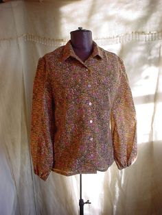 Vtg Leslie Fay Blouse 1970s 1980s Floral Calico size 14 Rounded Collar #LeslieFay Seller florasgarden on ebay