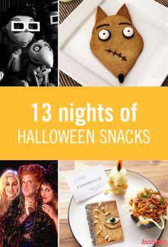 13 nights of Halloween snacks Homemade Halloween Decorations, Halloween Snacks, Holidays Halloween, Halloween Crafts, Halloween Party, Christmas Donuts, Halloween Movie Night, Snacks To Make, B 13