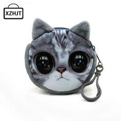 11 스타일 미니 3D 고양이 봉제 동전 지갑 동물 인쇄 지퍼 지갑 하라주쿠 어린이 가방 여성 Billeteras 귀여운 Monedero 가토