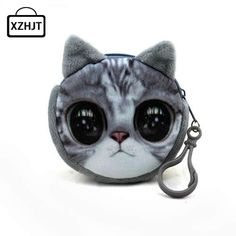 11 Style Mini 3D Cat Plush Coin Purse Animals Prints Zipper Wallets Harajuku Children Bag Women Billeteras Cute Monedero Gato *** Uznayte bol'she o bol'shom produkte po ssylke izobrazheniya.
