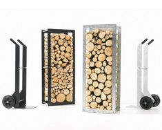 Designed by Dirk Wynants. Woodstock is a wood rack which includes a hand truck. It makes transporting wood to your fireplace easier, more efficient and more attractive. Available in black powdercoat for indoor use or Galvanized for outdoor use.