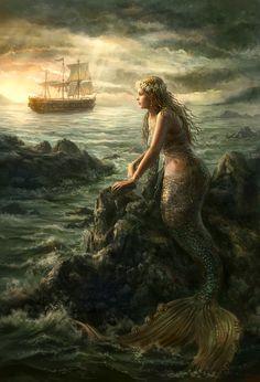 {Mermaid} by {AnotherWanderer} {Mythical Creatures- Mermaids} A mermaid is a mythical creature that is half woman and half fish. Fantasy Mermaids, Mermaids And Mermen, Siren Mermaid, Mermaid Art, Mythical Creatures, Sea Creatures, Fantasy Landscape, Fantasy Art, Sirene Tattoo
