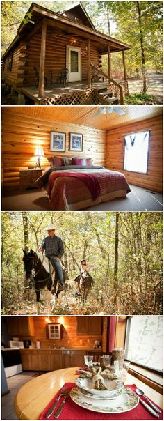 The A to Z Guest Ranch in Smithville, Oklahoma not only has stunning cabins to stay in but also offers a variety of activities including horseback riding, hiking and ATV riding.