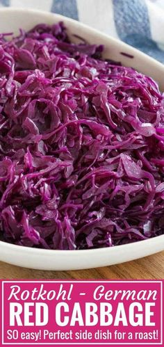 German Red Cabbage Rotkohl is a popular German side dish that is very easy to make from scratch It tastes so aromatic with a distinctive sweet and sour flavor and makes a. German Red Cabbage Recipes, Purple Cabbage Recipes, Red Cabbage With Apples, Sweet And Sour Cabbage, Red Cabbage Salad, Braised Red Cabbage, Recipe For Red Cabbage, Roasted Red Cabbage, Legumes