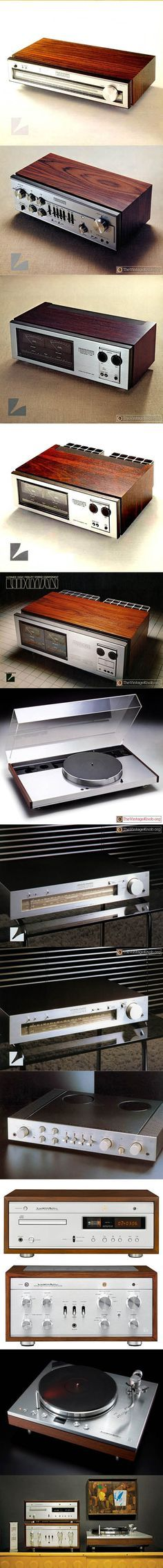 Luxman / 1975 T-110 tuner / C-1000 pre amplifier / M-2000 / M-4000 / M-6000 power amplifier / 1977 PD444 turntable / 1978 T-2 / T-4 tuner / 2010 D-38u tube CD-player / SQ-30u integrated amplifier / PD-171 turntable / Japan / aluminium wood