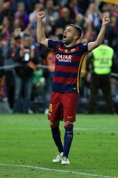 "Barcelona's defender Jordi Alba celebrates at the end of the Spanish ""Copa del Rey"" (King's Cup) final match FC Barcelona vs Sevilla FC at…"