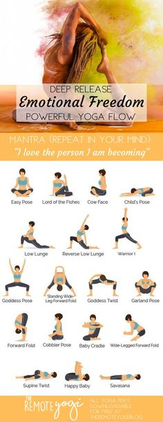 Yoga to Release Emotions - Printable Yoga PDF - the remote yogi - How to uproot toxic stories and become your best self. La mejor imagen sobre diy home decor para tu - Yoga Fitness, Sport Fitness, Health Fitness, Yoga Flow, Yoga Meditation, Yin Yoga, Yoga Inspiration, Hata Yoga, Yoga Moves