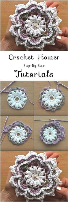 Crochet Flowers Pattern Crochet Flower – Step By Step Tutorials Crochet Flower – Step By Step Tutoria, This is a brilliant project for the most dedicated crocheters who love Crochet Puff Flower, Bag Crochet, Crochet Flower Tutorial, Knitted Flowers, Crochet Flower Patterns, Crochet Motif, Crochet Crafts, Crochet Yarn, Crochet Stitches
