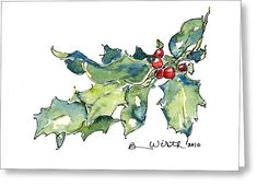 Holiday Holly Greeting Card for Sale by Barbara Wirth Painted Christmas Cards, Watercolor Christmas Cards, Homemade Christmas Cards, Christmas Drawing, Christmas Paintings, Watercolor Cards, Christmas Greeting Cards, Christmas Art, Christmas Colors