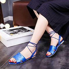 Calçados Femininos-Sandálias-Peep Toe-Rasteiro-Azul / Rosa / Vermelho / Bege-Courino-Casual de 4931281 2016 por $41.69
