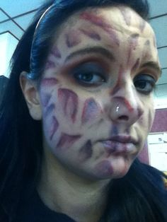 Freddy Krueger makeup used lash glue to draw on burns. covered ...