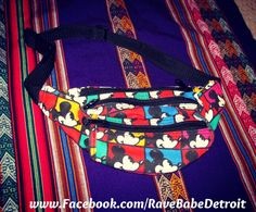 Mickey Mouse Disney Colorful Fanny Pack  Three by RaveBabeDetroit, $18.99 www.Facebook.com/RaveBabeDetroit