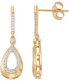 14k Gold Over Silver 1/5 Carat T.W. Diamond Teardrop Earrings