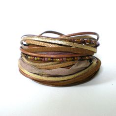 brown glitter leather wrap bracelet leather suede by jcudesigns, £21.00