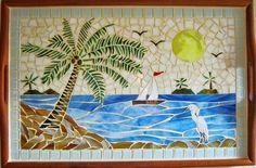 """Beach Scene"" Mosaic 24""x16"""
