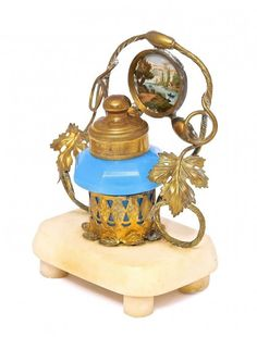 Lot: 1860s Palais Royal blue opaline inkwell., Lot Number: 0008, Starting Bid: $150, Auctioneer: Perfume Bottles Auction, Auction: Perfume Bottles Auction, Date: May 2nd, 2015 EDT