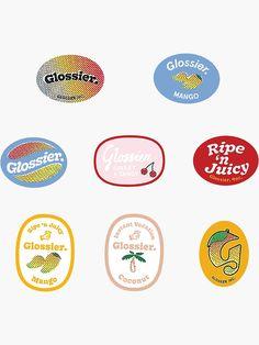 """""""glossier mango stickers"""" Sticker by cyphyurrr Tumblr Stickers, Diy Stickers, Printable Stickers, Korean Stickers, Journaling, Journal Stickers, Aesthetic Stickers, Grafik Design, Sticker Design"""