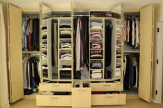 23 Admirable Wardrobe Designs To Inspire You : Awesome Wood Wardrobe Design with Foldable Doors and Unique Design