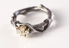 Silver & diamonds ring