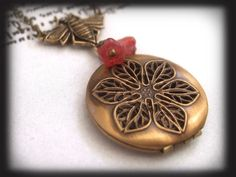 BEE HAPPY. vintage antiqued brass scent locket necklace
