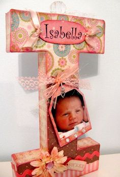 """Mod Podge, scrapbook papers, pretty embellishments, and a large paper mache letter to create this Letter """"I"""" as a baby gift. Someone make me this for all my kids Baby Crafts, Fun Crafts, Diy And Crafts, Paper Crafts, Paper Mache Letters, Wood Letters, Giant Letters, Craft Gifts, Diy Gifts"""