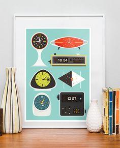 Retro Clock print Mid Century poster Eames era vintage por handz, $22.00