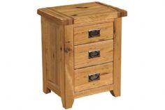 Lormont Oak 3 Drawer Bedside Cabinet