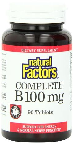 Natural Factors Vitamin B Complete 100mg Tablets, 90-Count >>> Want additional info? Click on the image.