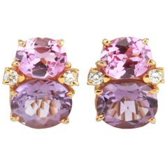 Preowned Medium Gum Drop™ Earrings With Pink Topaz And Amethyst And... ($4,000) ❤ liked on Polyvore featuring jewelry, earrings, purple, diamond jewelry, purple drop earrings, purple jewelry, clip earrings and clip-on earrings