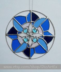 Round Pendant Winter Flowerblue of Stained Glass by DizArtEx