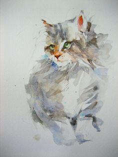 anelest WATERCOLOR Watercolor Paintings Of Animals, Watercolor Canvas, Animal Paintings, Animal Drawings, Rainbow Art, Cat Drawing, Cat Art, Portrait, Beautiful