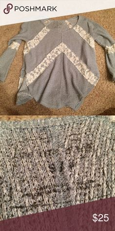 Gray lace detail sweater top from free people. size small. repost because didn't like the fit on me. good used condition Free People Sweaters Crew & Scoop Necks