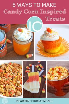 Halloween Candy Corn Inspired Treats: cupcakes, punch, candy corn, chex mix, perfect for a Halloween party or just hanging out with the family. Halloween Snacks, Halloween Candy, Halloween Diy, Easy Diy Crafts, Diy Craft Projects, Fun Crafts, Shake Recipes, Smoothie Recipes, Veggie Recipes Healthy